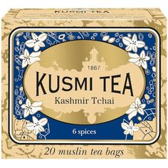 Kusmi Tea Kashmir Tchai Tea Bags ($15) ❤ liked on Polyvore featuring home, kitchen & dining, food storage containers, food, fillers, tea, light yellow and kusmi tea