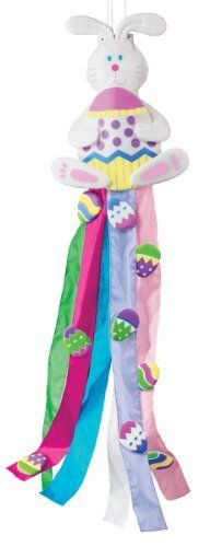 "Easter Bunny Windsock by Miles Kimball by Miles Kimball. $8.22. With a treasure trove of bright, festive eggs, our bunny windsock brings all the joy of a happy Easter season. Made of durable polyester in candy-shop colors, he welcomes spring breezes as his long steamers wave in the wind. 48"" long x 11"" wide."