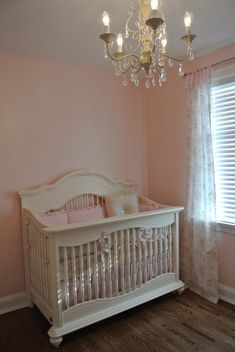 vintage glam shabby chic. love the color of the crib i would love to paint Ava's antique bedroom set this color!