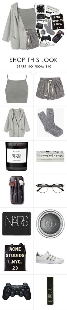 """""""Only seventeen but she walks the streets so mean"""" by nsrogsy3 ❤ liked on Polyvore featuring Topshop, H&M, Toast, J.Crew, Byredo, Bobbi Brown Cosmetics, NARS Cosmetics, Christian Dior, Acne Studios and adidas Originals"""