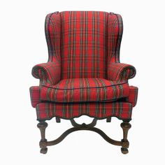 DIAMOND BARATTA Red Tartan Wing Chair