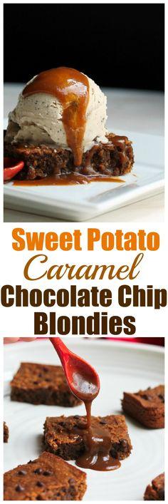 Sweet Potato Caramel Chocolate Chip Blondies. Vegan, gluten-free and oil-free and just 8 ingredients!