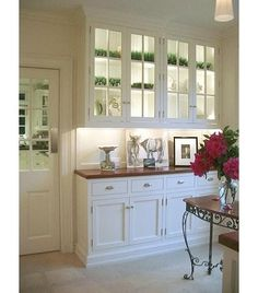 7. Light show. Install lighting inside the upper cabinets of your butler's pantry to really let your crystal sparkle. This cabinet lighting can work as accent lighting too for when you need to set a dinnertime mood.