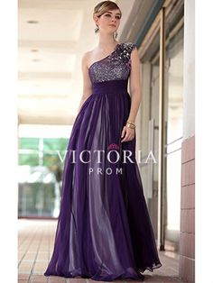 Purple Sequins Chiffon A-Line Long With Straps One Shoulder Prom Dress - US$ 243.99 - Style P2146 - Victoria Prom