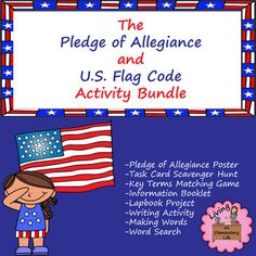 Do students really know and understand the Pledge of Allegiance?  They recite it at school, but what does it mean?  Do they know proper etiquette when handling and displaying the flag?  This activity bundle is designed to teach students about the Pledge of Allegiance and the U.S.