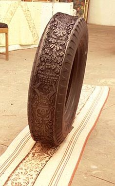 a stamp made from a tire ~ whodathunk?! I'm speechless... :-D