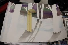 All righty. Here is the continuation of my previous post for winter birch trees . This is what the students have been working on for the l. Winter Art Projects, Cityscape Art, Shadow Art, Birch Trees, Kindergarten Art, Art Lessons Elementary, Teaching Art, Tree Art, Art Education