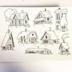 Doodle Drawings, Easy Drawings, Simple House Drawing, House Doodle, Stitch Drawing, Building Illustration, House Sketch, Baba Yaga, Building Art
