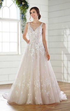 Romantic ALine Wedding Dress with Floral Details is part of Floral wedding dress - The epitome of romance, this Aline wedding dress with floral details from Essense of Australia brings the whimsy of a garden to life! Lace Wedding Dress, Perfect Wedding Dress, Dream Wedding Dresses, Bridal Dresses, Wedding Gowns, Christmas Wedding Dresses, Bridesmaid Dresses, Elegant Wedding, Boho Wedding
