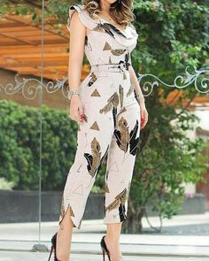 This jumpsuits features ruffles with leaf print and split leg, looking elegant and chic. jumpsuit wideleg outfit,women jumpsuits outfits,casual jumpsuit,jumpsuit outfit #jumpsuitsoutfitcasual #jumpsuitselegant #jumpsuitsforwomencasual #jumpsuitsgoingout Ruffles, Split Legs, Plus Size Jumpsuit, Casual Jumpsuit, Jumpsuit Outfit, Fashion Deals, 50 Fashion, Fashion Styles, Fashion Online