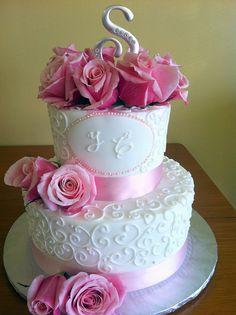 white pink roses wedding cake