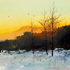 Tom Perkinson Watercolor Artist | Tom Perkinson, Dark-Eyed Juncos at Twilight, watercolor/mixed media, 7 ...