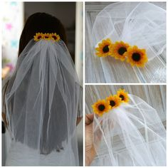 velos novia Bachelorette Veil Bridal Shower Veil Sunflower Party Accessory Headband Veil Sunflower Bride wedding veil