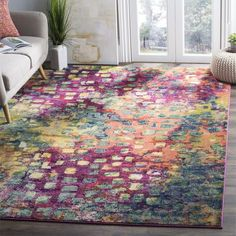 Safavieh Monaco Abstract Watercolor Pink/ Multi Distressed Rug (5'1 x 7'7)    overstock $87.99