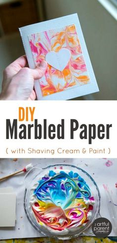 The best, easiest, and cheapest DIY marbled paper is done with shaving cream marbling (with video showing it in action). This is one of our all-time favorite art activities for all ages!
