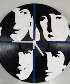 Hand Painted The Beatles Vinyl Record Clock