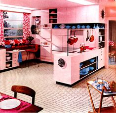 vintage pastel pink kitchen. This is a bit much, even for me. I like pink walls, white cupboards - easier to achieve on the cheap!