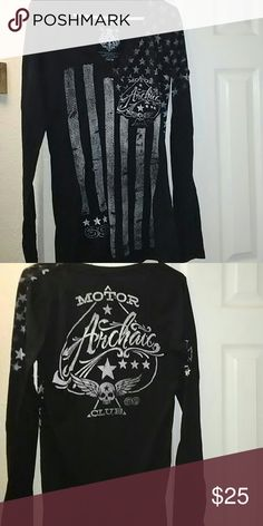 Ladies black shirt This shirt is so awesome!  Black long sleeve, V-neck with white stripes & stars. Archaic Tops Tees - Long Sleeve