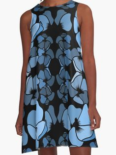 Art deco midnight blue floral print A-line Dress    Trendy floral fashion style. Striking and sassy, both modern and delightfully old-fashioned at the same time. http://www.redbubble.com/people/sofijaolivera/works/23037249-midnight-blues?asc=u&p=a-line-dress&rel=carousel  #alinedresses #fashiontrends #floralprint #womenstyle #accessories #surfacedesign #surfacepattern #floralprint #botanicaltheme #clothing #dress