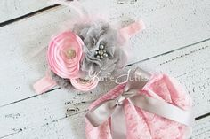 Pink+and+Gray+Lace+Diaper+Cover+and+Headband+Pink+by+KutieTuties,+$39.95
