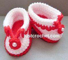 Free crochet pattern for cuffed shoes http://www.justcrochet.com/cuffed-shoes-usa.html #justcrochet