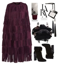 """""""Fringed suede cape Burberry Prorsum"""" by thestyleartisan ❤ liked on Polyvore featuring Rosetta Getty, LARA, Burberry and Aquazzura"""