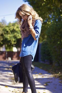 denim shirt + liquid leggings.