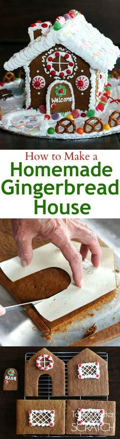 Recipe and photo tutorial for making a homemade gingerbread house-- plus a PRINTABLE PATTERN! These are so fun for a homemade christmas decoration or gift!