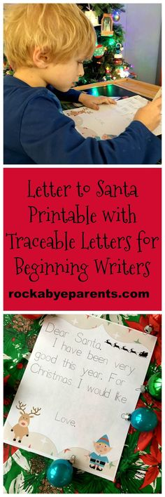 This Letter to Santa Printable is perfect for beginning writers! Most of the letter is prewritten with traceable letters for new writers to trace to practice their handwriting skills. There is a blank area for their gift wish list to be added as well as space for them to sign their name.