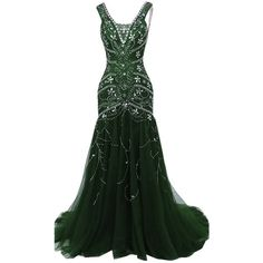 H.S.D Womens Mermaid V Neck Beaded Long Prom Dress Evening Gowns ($129) ❤ liked on Polyvore featuring dresses, gowns, long dresses, green ball gown, beaded evening gowns, prom dresses and v neck prom dress