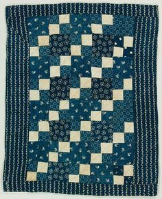 Four Patch doll quilt, c. 1870-1890, cotton, calico, hand and machine pieced.