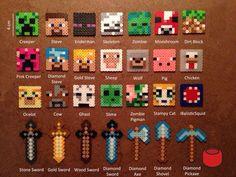 Personajes mine craft y armas perler beads