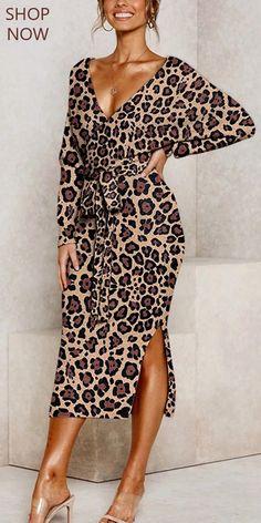 Leopard Print Dress Retro deep v leopard print belted split batwin. Leopard Print Dress Retro deep v leopard print belted split batwing sleeves dress, various style Look Fashion, Autumn Fashion, Womens Fashion, Mode Xl, Knit Dress, Dress Up, Bodycon Dress, Fall Outfits, Cute Outfits
