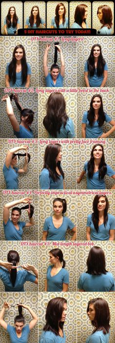 super ideas for haircut diy ponytail How To Cut Your Own Hair, Cut My Hair, Long Hair Cuts, New Hair, Dyi Hair Cut, Haircut Diy, Ponytail Haircut, Diy Haircut Layers, Diy Layers In Hair