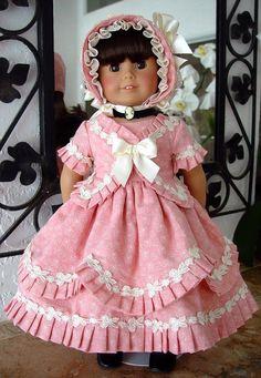 Dress Bonnet Fit American Girl Victorian 1800 039 s Little Charmers Doll Design | eBay