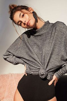 Slide View: 1: Out From Under Amelia Striped Mock Neck Top