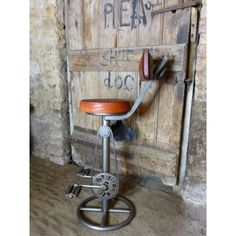 Vintage Bike Bar Stool Industrial Furniture Smithers of Stamford £ Store UK, US, EU Bicycle Bar, Leather Bicycle, Bicycle Pedals, Bicycle Wheel, Vintage Bar Stools, Industrial Bar Stools, Vintage Industrial, Industrial Pipe, Leather Bean Bag Chair