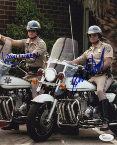 CHiPs Cast Wilcox and Estrada Signed Photo Certified Authentic JSA COA - movies, stars & tv - Motos Custom Baggers, Custom Choppers, Custom Motorcycles, Custom Bikes, Harley Davidson Custom Bike, Harley Davidson News, Harley Davidson Motorcycles, Motorcycle Style, Motorcycle Design
