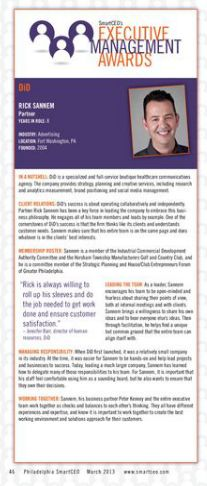 Rick Sannem, Partner, DiD - SmartCEO's Executive Management Awards recipient 2013 Leadership, Awards, Management