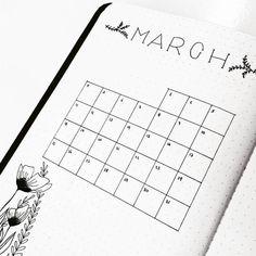Bullet journal monthly calendar, bullet journal grid calendar, plant doodles, flower drawings. | @theartofbujo