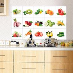 Kitchen Vegetable Fruit Oil-proof Wall Sticker Removable Waterproof Sticker Home Decor - Wall Stickers, Decal, Murals, Self adhesive Paper Art Restaurant Bar, Kitchen Dining, Kitchen Decor, Dining Room, Kitchen Wall Stickers, Belize, Waterproof Stickers, Removable Wall, Puerto Rico