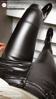 POV black leather pants and boots