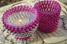 DIY Beaded Candle Holders using upcycled Mardi Gras Beads Mardi Gras Beads, Mardi Gras Party, Crafts To Make, Fun Crafts, Recycle Crafts, Crafty Craft, Crafting, Bead Art, Craft Projects