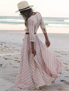 Description Fabric :Fabric has some stretch Season :Fall Pattern Type :Striped Sleeve Length :Three Quarter Length Sleeve Color :Pink Dresses Length :Maxi Style :Beach Material :Cotton Neckline :V nec