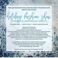 @parlorblowdrybar's #holidayfashion show is #tonight! Proceeds benefit the Alliance Medical Ministry! #showsomelocallove #fashionshow #shoplocal #raleigh #