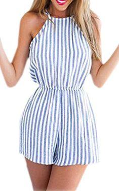 Zeagoo sexy Damen Jumpsuit Streifen kurz Sommer Strand Oveall Einteiler Rückenfrei O Ausschnitt Reizvolle Blau