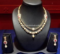Two step Diamond Fancy Necklace with Pearls