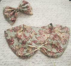 Floral Print Peter Pan Collar And Hair Bow  by SweetDreamsPrincess, $19.00