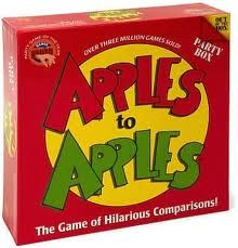 One of my favorite large group games. Really want to try out their new game Sour Apples to Apples.