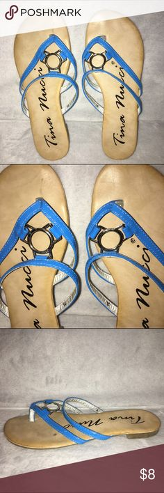 Blue Flip Flop Sandals These flip flops have a blue and silver detail on top. Size 7.5 Shoes Sandals